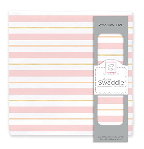 SwaddleDesigns Cotton Muslin Swaddle Blanket, 3 Color Stripes with Shimmer, Pastel Pink