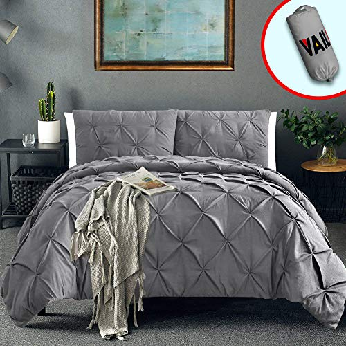 Vailge 3 Piece Pinch Pleated Duvet Cover with Zipper Closure, 100% 120gsm Microfiber Pintuck Duvet Cover, Luxurious & Hypoallergenic Pintuck DecorativeGrey,Queen