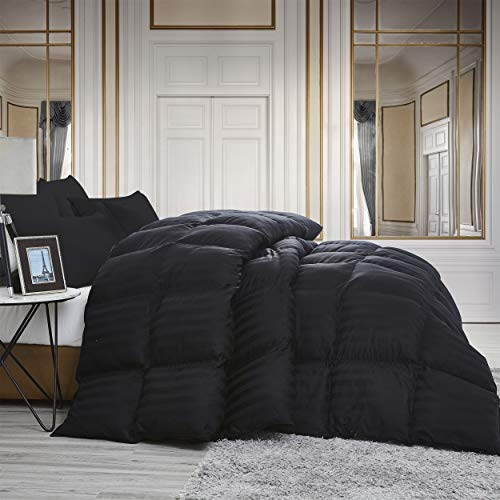 Luxurious All-Season Goose Down Comforter King Size Duvet Insert, Exquisite Black Stripe Design, 1200 Thread Count 100% Egyptian Cotton Down Proof Fabric, 750+ Fill Power, 65 oz Fill Weight