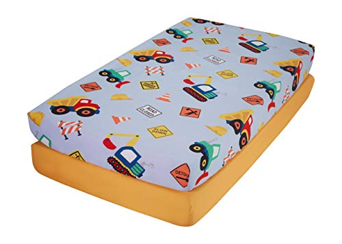 Construction/Gold – EVERYDAY KIDS 2 Pack Fitted Boys Crib Sheet, 100% Soft Microfiber, Breathable and Hypoallergenic Baby Sheet, Fits Standard Size Crib Mattress 28in x 52in, Nursery Sheet