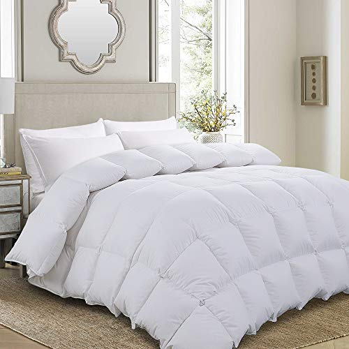 Luxurious Goose Down Comforter King Size Duvet Insert All Seasons Solid White Hypo-allergenic 750+ Fill Power 1000 Thread Count 100% Cotton Shell Down Proof with Tabs King, White