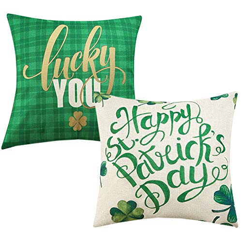 Anickal St Patricks Day Pillow Covers 18×18 Inch for St Patricks Day Decorations Happy St Patricks Day Green Shamrock Clover Lucky You Set of 2 Decorative Throw Pillow Case for Home Farmhouse Decor