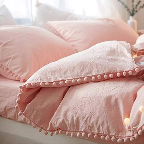 Pink – iAsteria Duvet Cover Queen,100% Washed Microfiber 3pcs Bedding Duvet Cover Set, Pom Poms Fringe Solid Color Soft and Breathable with Zipper Closure & Corner Ties