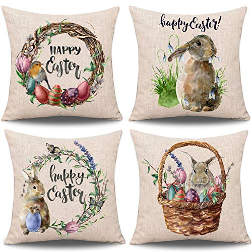 Whaline 4 Pieces Easter Pillow Case Rabbit Bunnies with Eggs Pillow Cover, Spring Season's Cotton Linen Sofa Bed Throw Cushion Cover Decoration 18″ x 18″