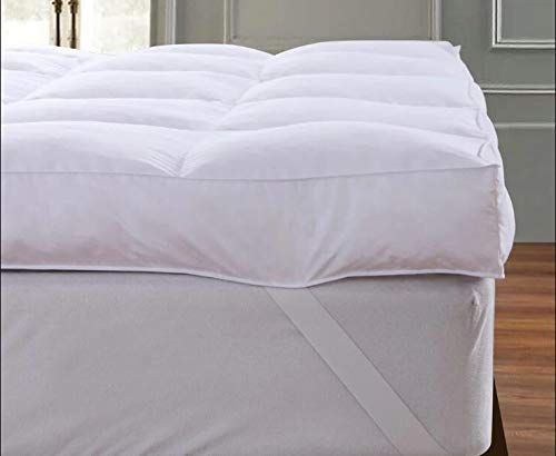 QUEEN ROSE Mattress Pillow Topper, Plush Pillow Top Mattress Pad Cover Topper,Hotel Quality,Down Alternative,Soft and Firm with Baffle Box Construction,3″ HKing