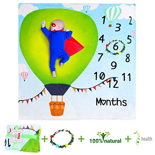 Baby Monthly Milestone Blanket for Girls and Boys, Baby Bedding Blankets Swaddling, Monthly Memory Photography Backdrop Photo Prop, 1 to 12 Months Newborn Stuff Unique, 40 X 40 in
