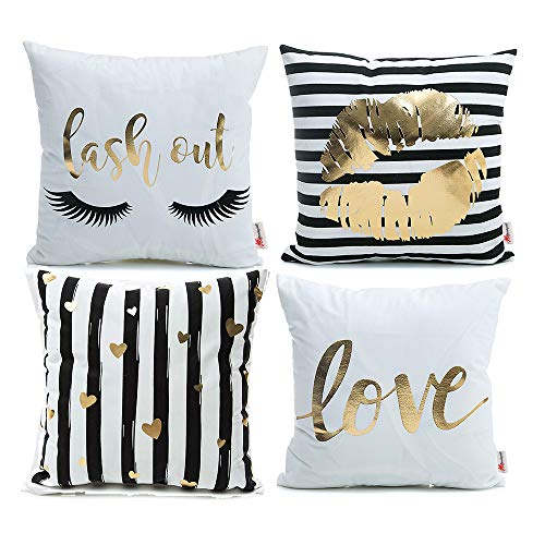 Monkeysell Pack of 4 Black and Gold Throw Pillow Lips Bronzing Flannelette Home Pillowcases Throw Pillow Cover Love Black Gold Lips Pattern Design Rock Punk Neoclassical Style 18 inches White