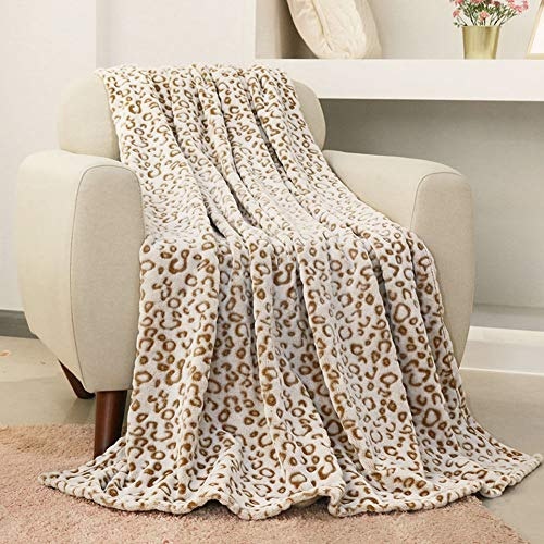 FY FIBER HOUSE Flannel Fleece Throw Blanket, Lightweight Cozy Plush Microfiber Bedspreads for Adults,90 by 90-Inch,Brown Leopard