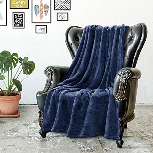 Cosy Hometex Ultra Soft Fleece Throw Blanket – Luxurious Royal Warm Cozy – Plush Blanket for Couch/Living Room/Winter/Travel-50″x 60″,Navy Blue