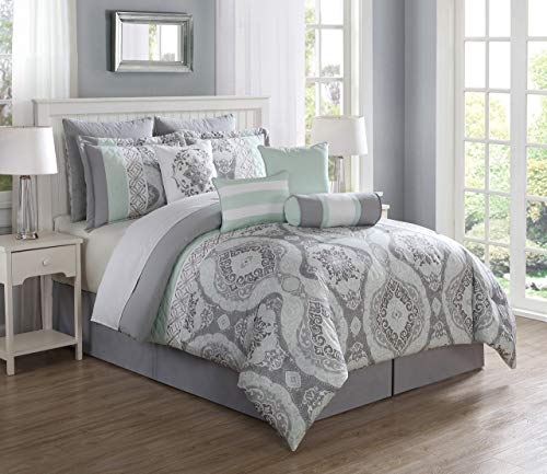 S.L. Home Fashion 10 Piece Bianca Mint/Gray Comforter Set King