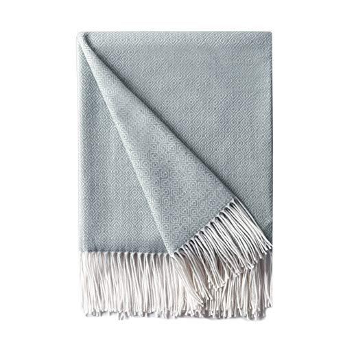 Bourina Decorative Diamond Lattice Faux Cashmere Fringe Throw Blanket Lightweight Soft Cozy for Bed or Sofa Farmhouse Outdoor Throw Blankets, 50″ x 60″,Light Blue