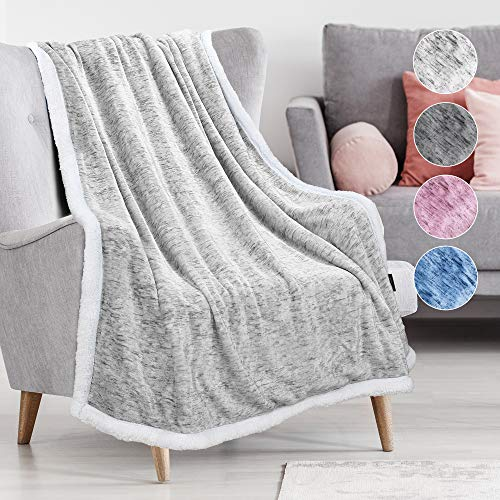 Tirrinia Sherpa Throw Blanket Snow Blue 50″ x 60″, Super Soft Micro Fleece Plush Bed Throw TV Blanket Reversible