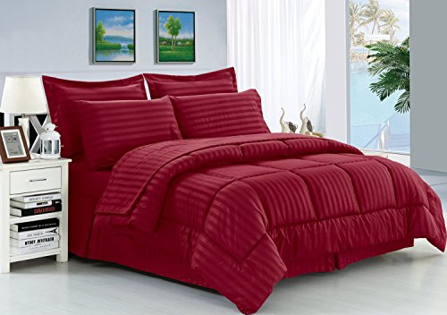 Elegant Comfort Wrinkle Resistant – King Burgundy – Silky Soft Dobby Stripe Bed-in-a-Bag 8-Piece Comforter Set -Hypoallergenic