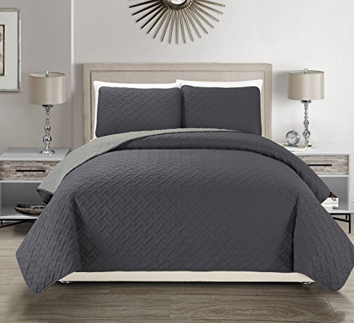 KingLinen Embossed Charcoal Reversible Bedspread/Quilt Set Queen