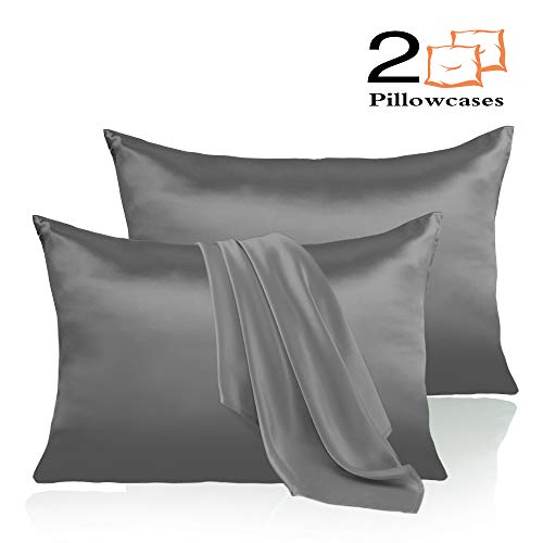 Leccod 2 Pack Silk Satin Pillowcase for Hair and Skin Cool Super Soft and Luxury Pillow Cases Covers with Envelope Closure Deep Gray, Standard: 20×26