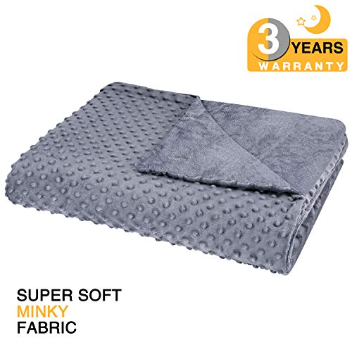 Super Soft Minky Fabric | 8 Ties | | No Shifting | 48″x 72″| Twin Size | for Adults Women, Men, Children -Gray – bedextra Removable Duvet Cover for Weighted Blanket