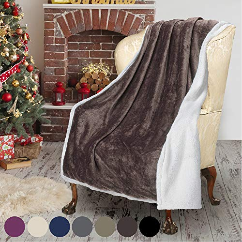 Brown Sherpa Throw Plush Blanket Size 50″ x 60″ Bedding Fleece Reversible Blanket for Bed and Couch, Super Soft Comfy Warm Fuzzy TV Blanket