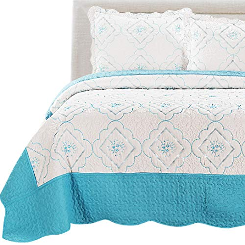 Quilt Bedspreads Full/Queen Size Embroidery Floral Quilts Set,3Pcs Lightweight Coverlet Set Reversible Bedding Cover Pillow Shams,White Blue