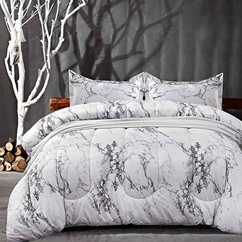 NANKO Comforter Set King Size, White Marble Print 104 x 90 inch Reversible Down Alternative Comforter Microfiber Duvet Sets 1 Comforter + 2 Pillow Best Modern Bedding for Women Men,Gray Grey