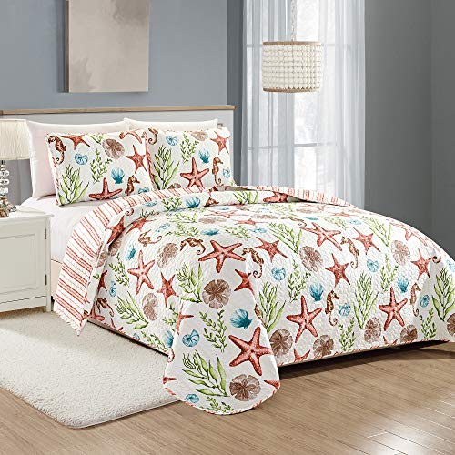Great Bay Home Castaway Coastal Collection 3 Piece Quilt Set with Shams. Reversible Beach Theme Bedspread Coverlet. Machine Washable. King, Multi