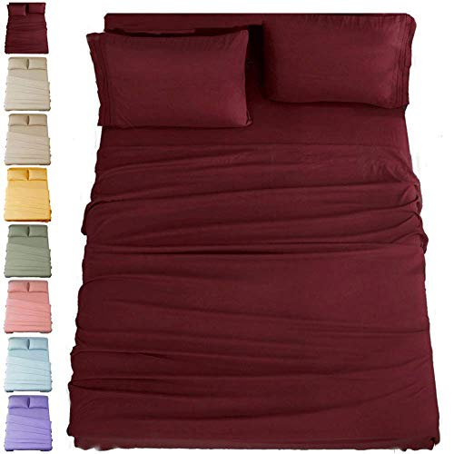 SONORO KATE Bed Sheet Set Super Soft Microfiber 1800 Thread Count Luxury Egyptian Sheets 16-Inch Deep Pocket,Wrinkle and Hypoallergenic-4 Piece Burgundy, Queen