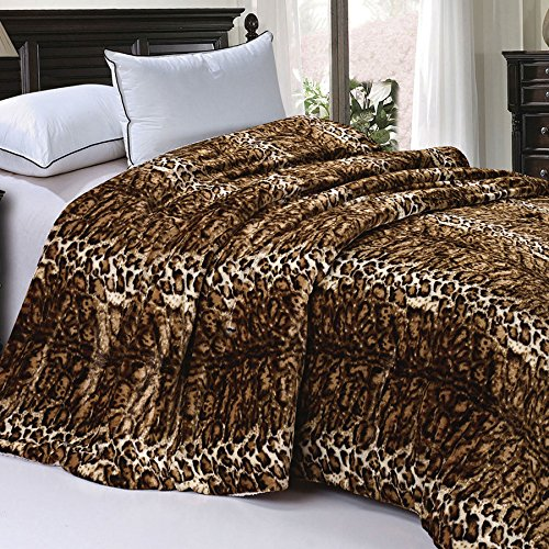 Home Soft Things Soft and Thick Faux Fur Sherpa Backing Bed Blanket, Queen 84″ x 92″, ML Leopard