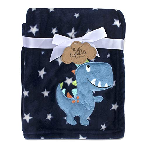 Baby Essentials Plush Fleece Throw and Receiving Baby Blankets for Boys and Girls Blue Dino