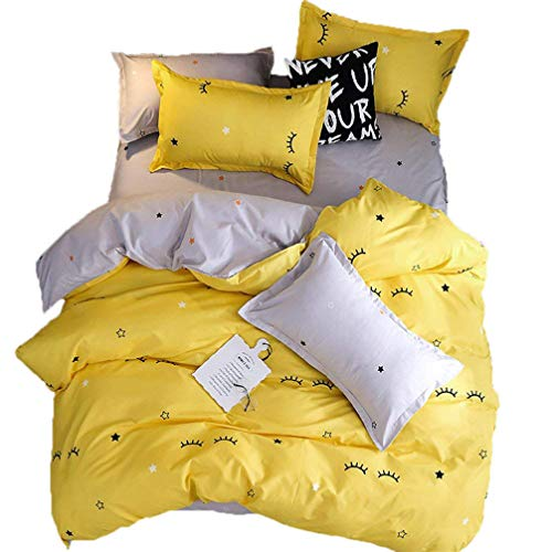 Sookie 3 Piece Eyelash Curved Duvet Cover and Pillow Shams Bedding Set, Soft and Comfortable Graceful Reversible Durable Full/Queen Size,Yellow