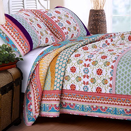 Quilt Set 100 Cotton 3 Piece with Shams Full/Queen Reversible Retro Bohemian Style Printed with Flowers Mandala Medallion Geometric Pattern Blue Red Yellow Luxury Bedding