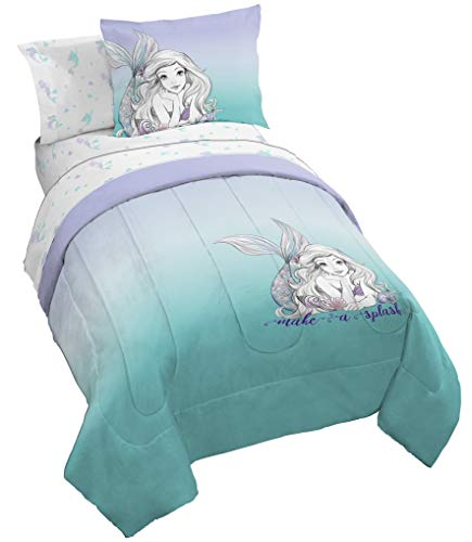 Jay Franco Disney Little Mermaid Make A Splash 5 Piece Twin Bed Set – Includes Comforter & Sheet Set – Official Disney Product. – Bedding Features Ariel – Super Soft Fade Resistant Microfiber
