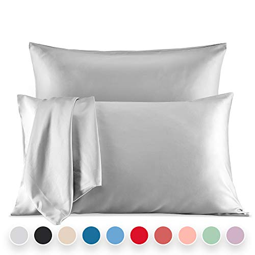 SLEEP ZONE Satin Pillowcases Temperature Regulation Set of 2 for Hair and Skin Standard/Queen 20×30 Pillow Cover Queen, Grey
