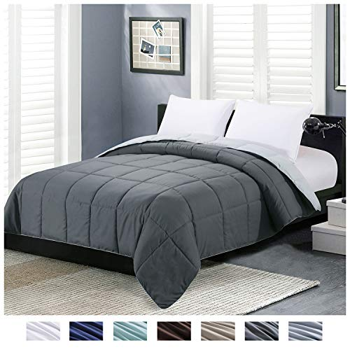 Homelike Moment Reversible Lightweight Comforter – All Season Down Alternative Comforter Twin Summer Duvet Insert Grey Quilted Bed Comforters with Corner Tabs Twin Size Dark Gray/Light Grey