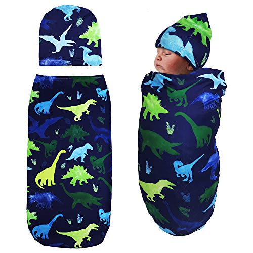 TIANNUOFA Newborn Swaddle Blanket with Beanie Set,Soft Stretchy Cocoon Sack for 0-3 Months Baby Boys and GirlsWatercolor Dinosaur