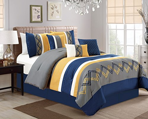 Chezmoi Collection Arden 7 Pieces Modern Pleated Stripe Embroidered Zigzag Bedding Comforter Set Queen, Navy/Gray/Yellow/Off-White