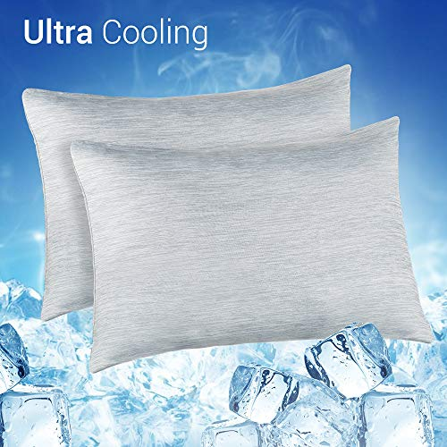 Cooling Pillowcase, Cooling Warm Double-Side Design Pillow Cover with Japanese Q-Max 0.4 Cooling Fiber, Breathable Soft, Cooling Eco-Friendly, Hidden Zipper Design, Standard Size20x26 inches, 2 PACK