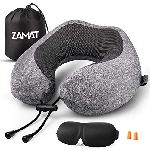 ZAMAT Memory Foam Travel Pillow, 360°Support Neck Pillow for Airplane Travel, Adjustable Compact Comfort with Earphone, Breathable & Washable Case, 3D Eye Masks, Earplugs & Carring Bag Dark Gray