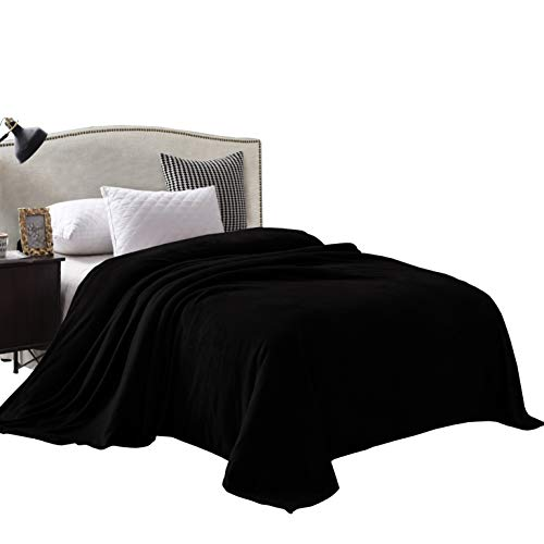 Exclusivo Mezcla King Size Flannel Fleece Velvet Plush Bed Blanket as Bedspread/Coverlet/Bed Cover 90″ x 104″, Black – Soft, Lightweight, Warm and Cozy
