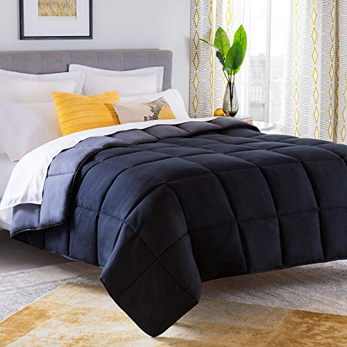 Black/Graphite – Machine Washable – Duvet Insert or Stand-Alone Comforter – Linenspa All-Season Reversible Down Alternative Quilted Comforter – Plush Microfiber Fill – Hypoallergenic – Twin