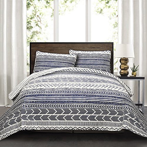 Lush Decor Quilt Hygge Geo Pattern Striped 3 Piece Bedding Set, King, Navy & White