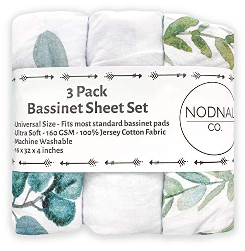Gender Neutral Leafs, Greenery, Floral Eucalyptus 160 GSM Sheets – NODNAL CO. Leafy Bassinet Fitted Sheet Set 3 Pack 100% Jersey Cotton for Baby Girl/Boy