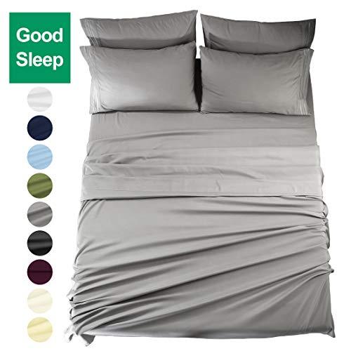 EASELAND King Size 6-Pieces Bed Sheets Set 1800 Series Microfiber Wrinkle & Fade Resistant,Deep Pocket,Hypoallergenic Bedding Set,King,Grey