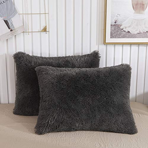 XeGe Faux Fur Throw Pillow Cases Plush Shaggy Ultra Soft Pillow Cover Fluffy Crystal Velvet Decorative Pillowcases Zipper Closure,Set of 2Standard, Dark Gray