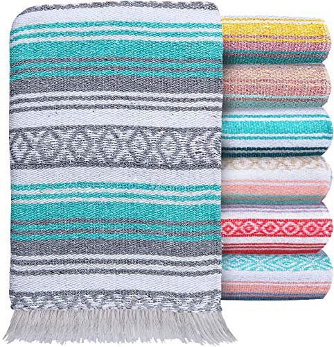 El Paso Designs Mexican Blanket Pastel Bloom Collection Yoga Classic Mexican Falsa Pattern Woven Throw 51in x 74in