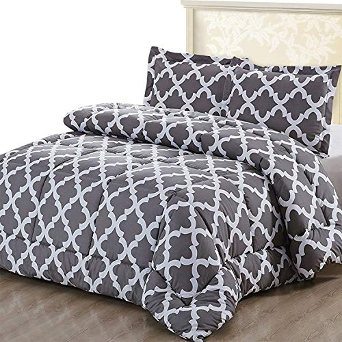 Soft and Comfortable – Utopia Bedding Printed Comforter Set King/Cal King, Grey with 2 Pillow Shams – Machine Washable – Luxurious Brushed Microfiber – Down Alternative Comforter