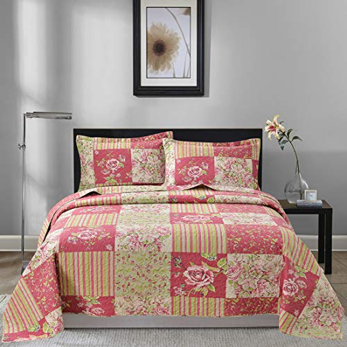 Oliven Bedspreads Coverlet Set King Size,Patchwork Floral Quilt 3 Pieces King,Plaid Quilts with 2 Pillow Shams
