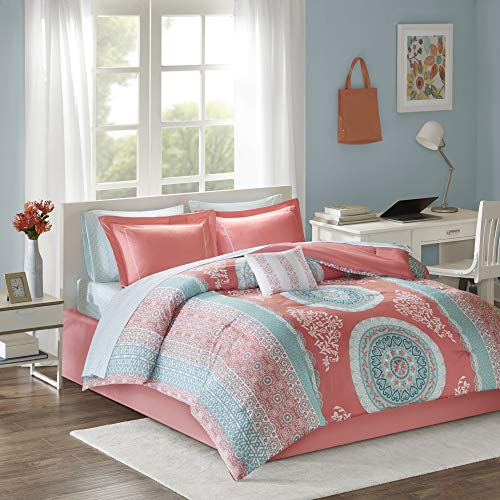 Ultra Soft Microfiber Teen Bedding for Girls Bedroom – 9 Piece Bed Sets – Intelligent Design Loretta Comforter Set Queen Size Bed in A Bag – Coral, Aqua, Bohemian Chic Medallion