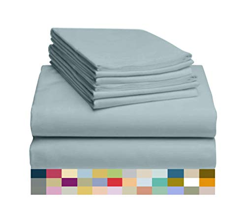 Light Teal Queen – LuxClub 6 PC Sheet Set Bamboo Sheets Deep Pockets 18″ Eco Friendly Wrinkle Free Sheets Hypoallergenic Anti-Bacteria Machine Washable Hotel Bedding Silky Soft