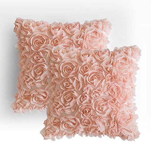 MIULEE Pack of 2 3D Decorative Romantic Stereo Chiffon Rose Flower Pillow Cover Solid Square Pillowcase for Sofa Bedroom Car 16×16 Inch 40×40 cm Peach Pink