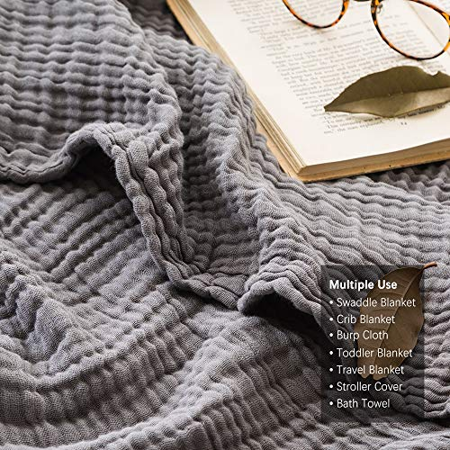 EMME 100% Cotton Muslin Blankets for Adults 4-Layer Breathable Muslin Throw Blanket Pre-Washed Lightweight Bed Blankets Soft Cotton Blanket All Season Grey, 55″x75″
