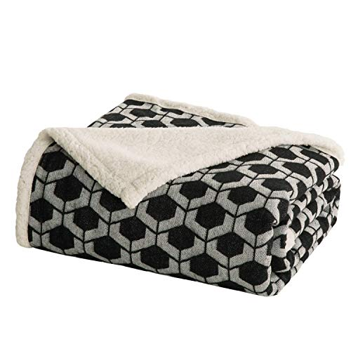 Soft & Cozy Blanket – Bedsure Sherpa Throw Blanket for Bed, Sofa and Couch – Black, 50 x60 Inches – Geometric Patterned Blankets and Throws